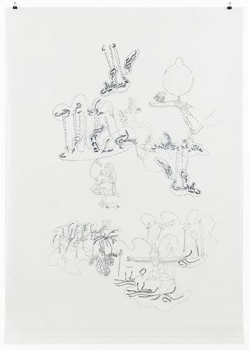 Alice in Flamingoland, 2014, 158 x 112,5 cm, Filzstift/PET-Folie