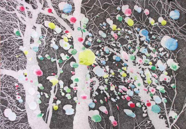 Tauwetter Aquarell, Chinatusche auf Zeichenpapier 2010