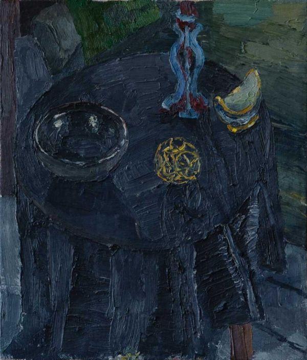 Stillleben auf Tisch 35 x 30 cm Öl/Lwd. 1988