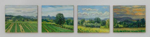 Hommage à Peter Dreher (4teilig) à 30 x 35 cm Öl/Lwd. 2009