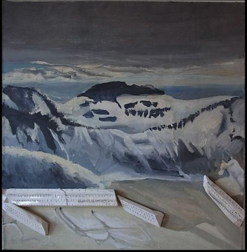 Sanatorium in den Bergen  110x105x8 cm Öl auf Lwd./Objekte  2012