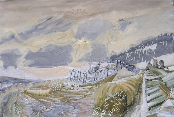 Gewächshäuser im Winter 2000 Öl auf Lwd. 63 x 90 cm