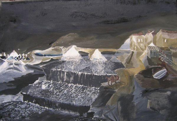Stauwehr nachts 1981 Öl auf Lwd. 63 x 90 cm