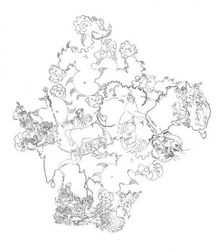 Europa und Britannia 140x112,5 cm Filzstift auf PET-Folie 2017