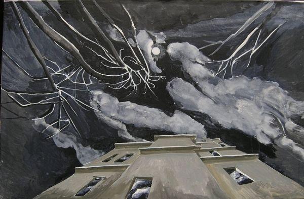 Rückseite Villa Mitscherlich 2003 Öl auf Lwd. 60 x 90 cm