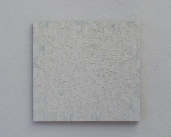 Weiß/Grün/Grau 61 x 65 cm Ölfarbe auf Holz 2009 Foto: Marc Doradzillo