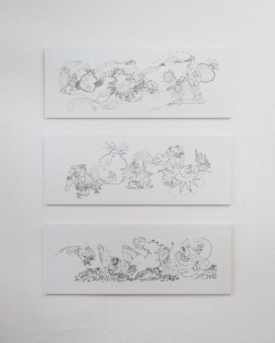Galatea Fries 1 und 2, Andromeda Fries je 42x112 digitaler Siebdruck auf Plexiglas 2017