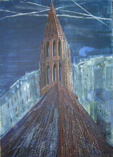 Der Turm des Münsters 2018 Öl auf Lwd. 100 x 70 cm