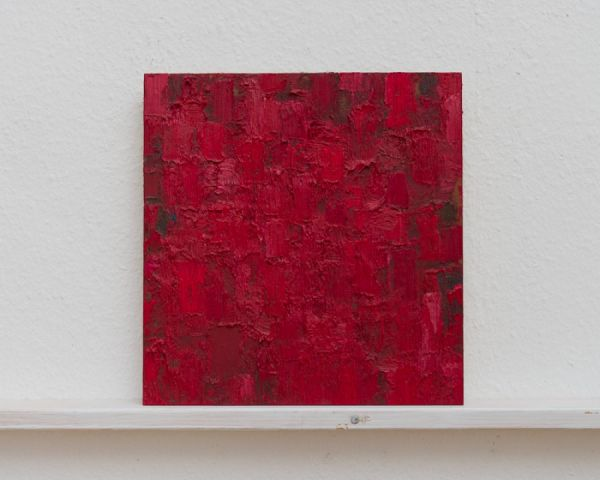 Dunkelrot/Rot/Grün 26 x 25 cm Öl/Schichtholz 2007 Foto: Marc Doradzillo