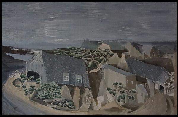 Dorf am Deich (II) 56 x 87 cm  Öl auf Leinwand  2007
