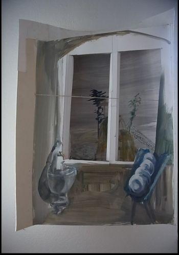 Küchenfenster 78x55x17 cm  Objekt: Öl auf Karton  2011