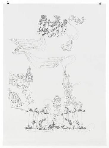 Alice all over the place, 2014, 158 x 112,5 cm, Filzstift/PET-Folie