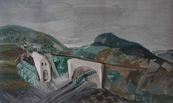 Tunnel, Torhaus, Bahnbrücke (Merzhauser Str.) 2020 Öl auf Lwd. 45 x 78 cm