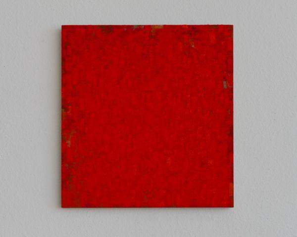 Zinnober/Rot/Grau 56 x 52 cm Öl/Lwd./Holz 2011 Foto: Marc Doradzillo